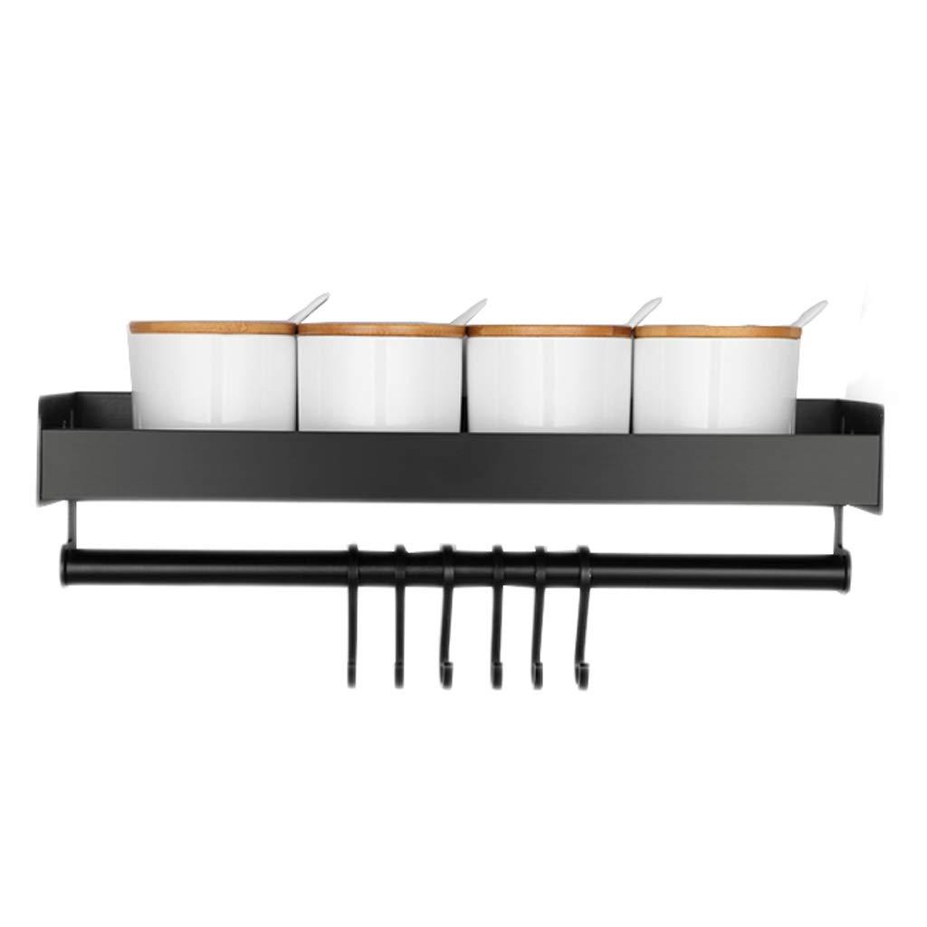 Seasoning Kitchen Rack Aluminum Black Drain Hook Wall-Mounted Multi-Function Storage Household MUMUJIN (Size : 40cm)