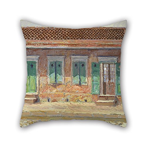 Corner Wedge Slipcover - Oil Painting William Woodward - House On Dumaine Street, New Orleans Throw Pillow Case ,best For Deck Chair,wife,gf,christmas,bench,deck Chair 16 X 16 Inches / 40 By 40 Cm(two Sides)