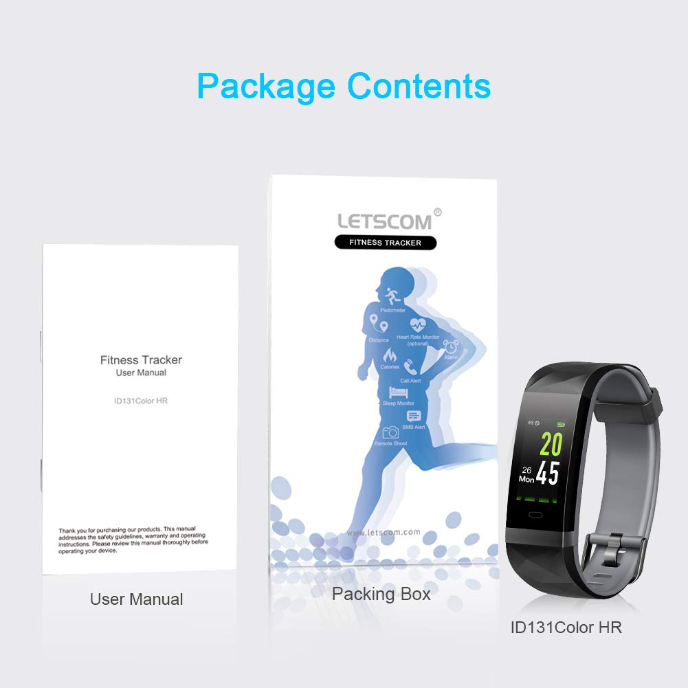 LETSCOM Fitness Tracker HR Color Screen, Heart Rate Monitor, IP68 Waterproof Smart Watch with Step Counter Sleep Monitor, Pedometer Watch for Men Women Kids by LETSCOM (Image #8)