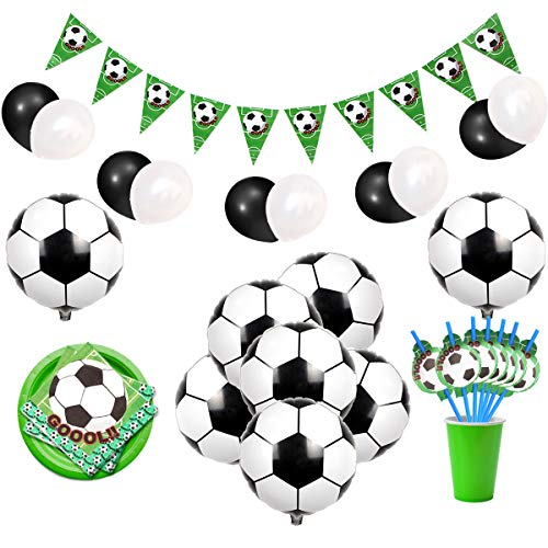 JOYMEMO Soccer Party Decorations Sports Themed Party Supplies with Soccer Foil Balloons, Bunting Banner, Napkins and Straws for Boys' Birthday Bbay Shower]()