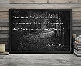 Robert Frost Road Less Traveled Poem Wall Art | 8x10 Wall Print