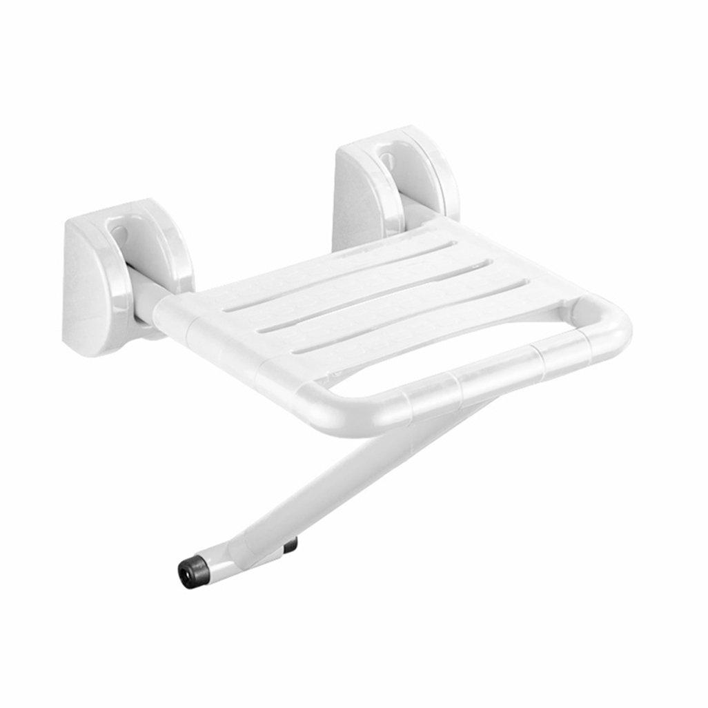 折り畳み可能な壁のスツールバスルームシャワーの座席のスツールの折りたたみ椅子高齢者/障害者のために取り付けられたヘビーデューティーウォール足を持つアンチスリップシャワーチェア白のシャワースツールMax。 200kg B07F5B5LGY