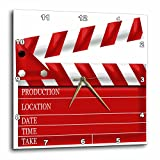 3D Rose dpp_222696_1 3dRose Movie Clap Board Illustration in Red and White-Wall Clock 10-inch (1)