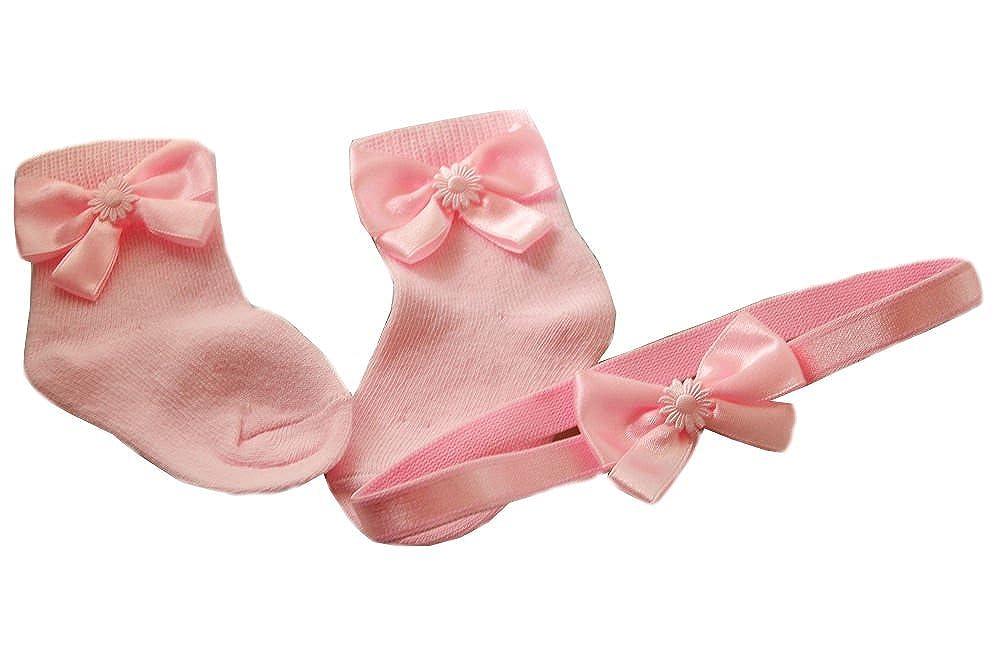 Pink  50 56 62 68 74 NEU Schleife Stirnband /& Socken Baby Söckchen SET Weiß
