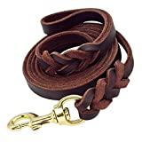 Beirui Leather Dog Leash - Training & Walking Braided Dog Leash - 4 ft by 5/8 in (120cm 1.6cm) - Latigo Leather Brown