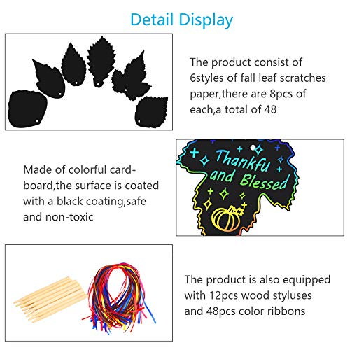 KATOOM 48pcs Fall Leaves Scratch Art,Kids Rainbow Magic Autumn Leaf Scratch Paper Notes Set with 12pcs Wooden Styluses and 48pcs Ribbons for Thanksgiving Harvest Party DIY Craft