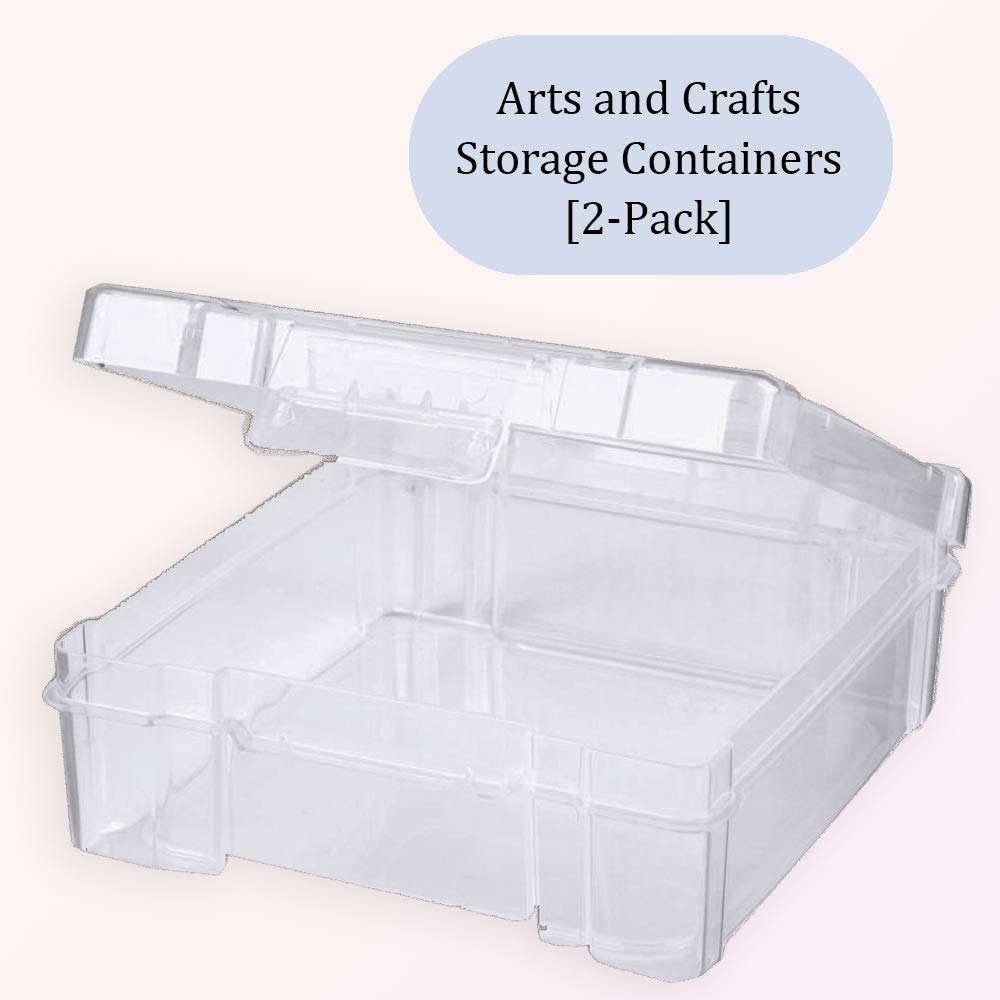 Kids Projects Sewing and Knitting Supplies : Clear Organizer Bins for Origami Paper Scrapbooks 2-Pack School Supplies Arts and Crafts Containers