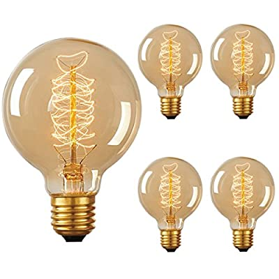 DORESshop 60W Vintage Edison Bulb, G80 Globe Antique Style, 2700K, Squirrel Cage Filament Light Bulb for Home Light Fixtures