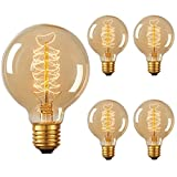 DORESshop Vintage Edison Bulb 60W, Incandescent Antique Dimmable Light Bulb, G25 Globe Light Bulb for Home Light Fixtures, Squirrel Cage Filament, Amber Class, E26 Base 110V, 360LM (4Pack)