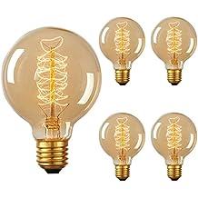 DORESshop Vintage Edison Bulb 60W, Incandescent Antique Dimmable Light Bulb, G25 Globe Light Bulb for Home Light Fixtures, Squirrel Cage Filament, Amber Glass, E26 Base 110V, 360LM (4Pack)