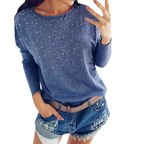 Off Shoulder Top Women Casual Round Neck Hot Drill Long Sleeve Blouse