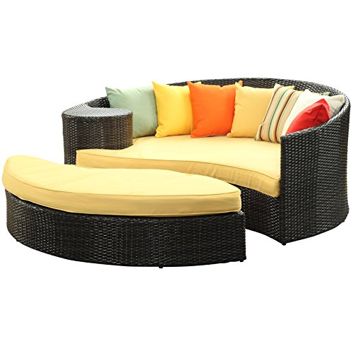 Modern Sectional Daybed (Modway Taiji Outdoor Wicker Patio Daybed with Ottoman in Brown with Orange Cushions)