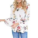Gotd Women Autumn Floral Printing Long Flare Sleeve Tops T-Shirt Blouse OverSize Plus Size S-5XL (4XL, White)