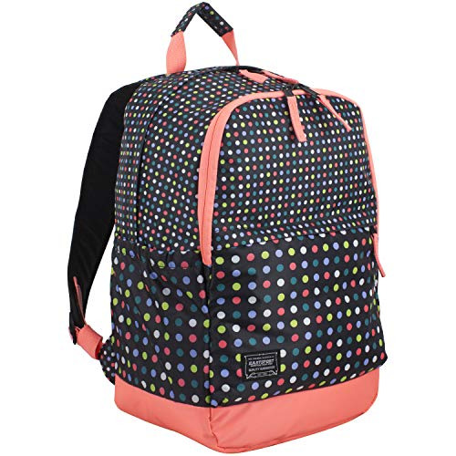 - Eastsport Everyday Classic Backpack with Interior Tech Sleeve, Black/Peach Luster/Multi Color Dots