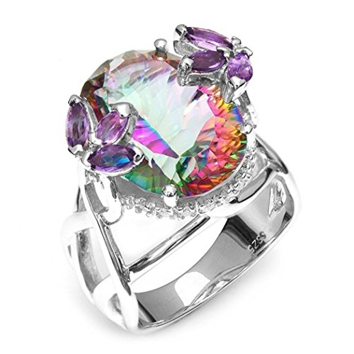 Pure Natural Mystery Rainbow Yellow Jade Jewel Crystal Princess Cut Diamond Wedding Ring Jewelry Multicolor (Jade Diamond Jewel)