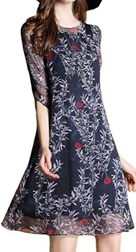 Sleeve Chiffon 4 Fashion Crewneck Womens Jaycargogo Dress 3 3 Print XAgnq
