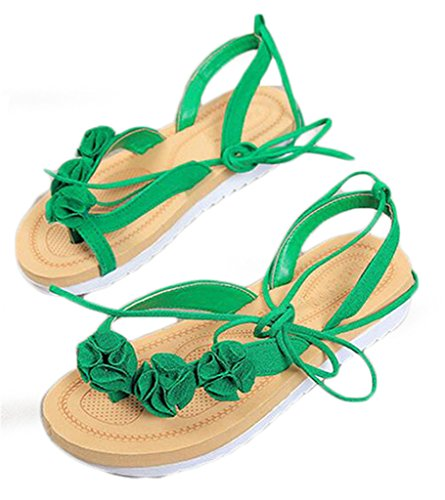 NEWZCERS - Sandalias de vestir de Caucho para mujer Verde