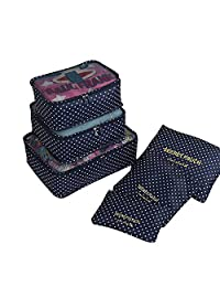 6 Set Packing Cubes, Multi-functional Underwear Outerwear Shoes Compression Travel Luggage Organizer Storage Bag Carrier Pouches (Navy Blue Polka Dots)