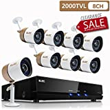 ELEC Surveillance System,1080N 8Channel HD 2000TVL CCTV Indoor & Outdoor Home Video Security Camera System DVR Kit with 8pcs Weatherproof 65ft Night Vision Bullet Cameras Remote Access,[No Hard Drive]