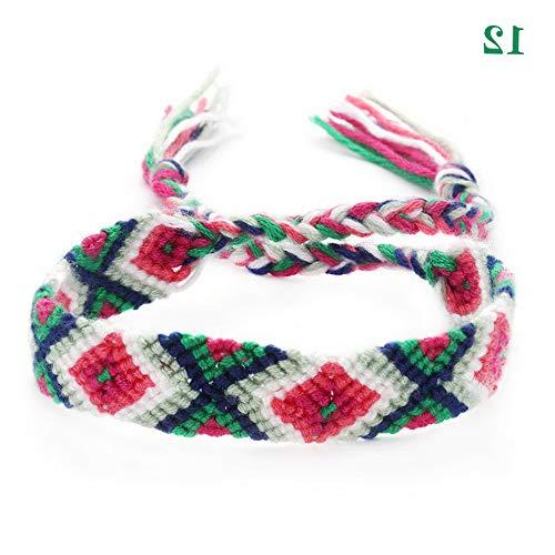 Werrox Boho Ethnic Jewelry Friendship Bracelets Braided String Rope Hand Weave Charm- | Model BRCLT - 23072 | 12 ()