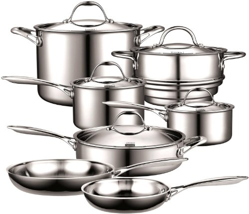 Cooks Standard NC-00232 Stainless Steel 12-Piece Multi-Ply Clad Cookware Set, Silver Burnt Stainless Steel Pot