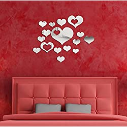 Fheaven Mirror Wall Stickers,16PCS Hearts Shaped Combination Different Size 3D Mirror Wall Stickers Home Decoration DIY Wall Stickers Decals Living Room Stick Stickers Decals , Removable (Silver)