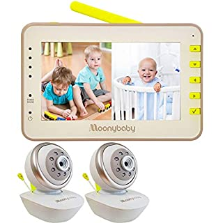 Moonybaby Split 55 Video Baby Monitor 2 Cameras, Split Screen, Non-WiFi Pan Tilt Camera, Wide View Lens Included, 4.3 inches Large Monitor, Night Vision, Temperature, 2 Way Talk Back, Long Range