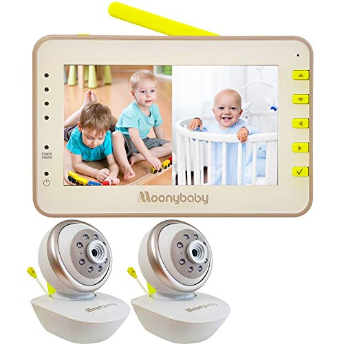 Video Baby Monitor 2 Cameras, Split Screen by Moonybaby, Pan Tilt Camera, 170 Degree Wide View Lens Included, 4.3 inches Large Monitor, Night Vision, Temperature, 2 Way Talk Back, Long Range best to buy