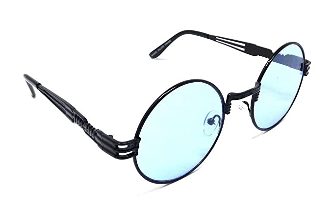 0bd6b22bbdb0 XL Oversized Round Classic Luxury Steampunk Sunglasses (Black Metallic  Frame, Light Blue)