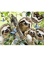 YHX926 Cross Stitch Kits for Beginner Adults,Sloth,Stamped Cross Stitch Patterns,Easy Needlepoint Embroidery Starter Kit for Women,DIY Needlework Home Decor -16x20 inch