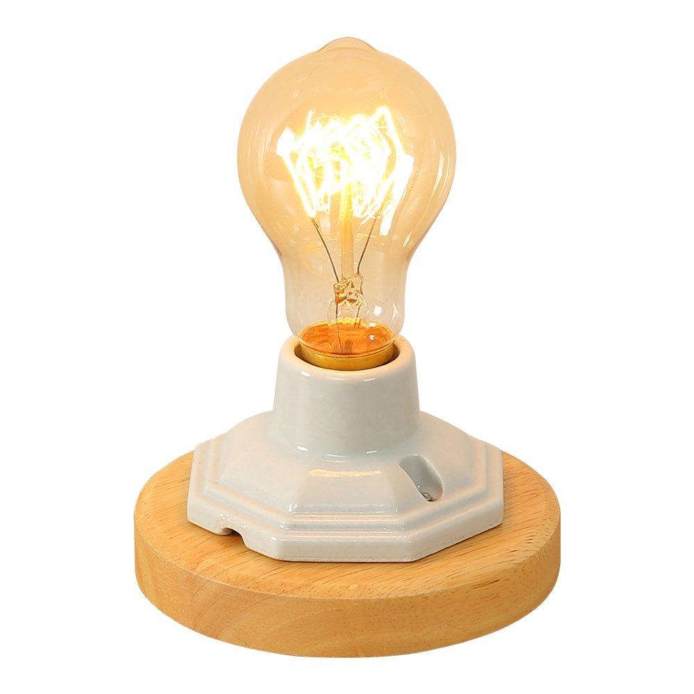 INJUICY Edison Table Lamps, E27 Wooden & Ceramics Base Vintage Desk Lamps for Bedside, Bedroom Living, Dining Room, Cafe Bar, Hallway Decor by IJ INJUICY