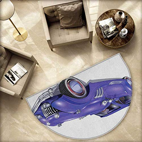 Cars Half Round Door mats Custom Vehicle with Aerodynamic Design for High Speeds Cool Wheels Hood Spoilers Bathroom Mat H 70.8