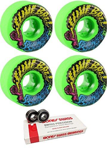 船形一般化する名門Santa Cruz Skateboards 54 Mm Slimeballs VomitsミニスケートボードWheels with Bones Bearings – 8 mm Bones Swiss Skateboard Bearings – 2アイテムのバンドル