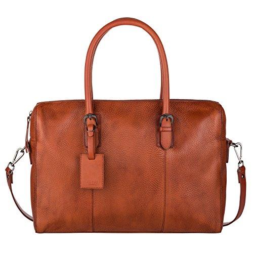 Cedrus Meeting Bag | Top-Grain Leather Briefcase, Messenger Bag, Laptop Bag, Satchel in Brown fits 15