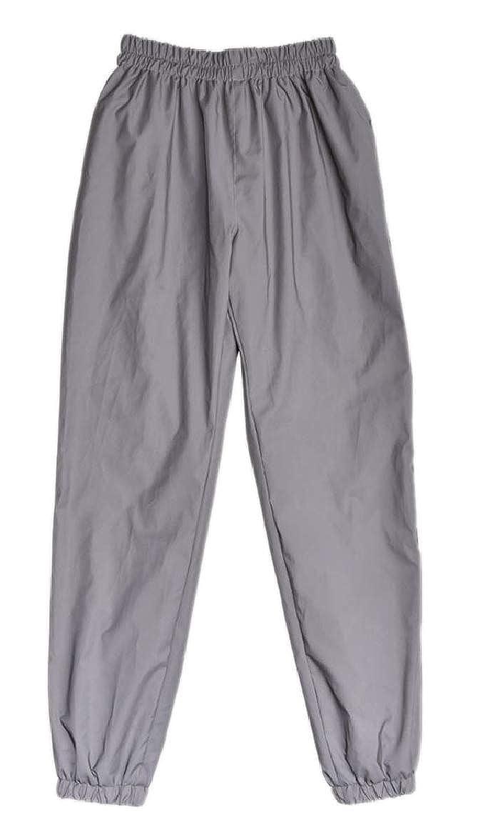 pujingge Womens Elastic Waist Reflector Rockabily Sports Jogging Harem Pants