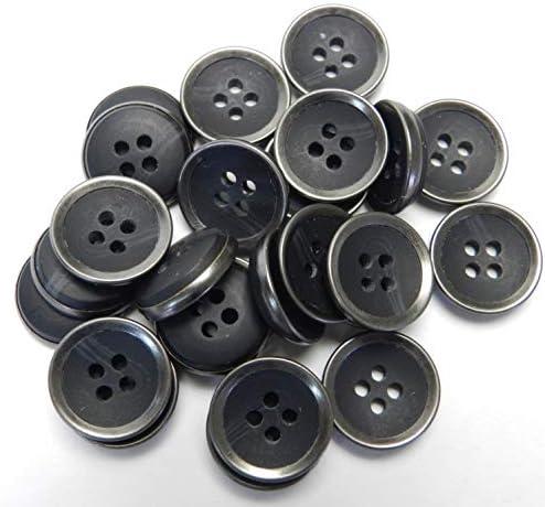 [スポンサー プロダクト]水牛調 黒色系組み合わせボタン 15mm 4穴 ジャケット 袖口 カーディガン 最適 25個入り FSR771K-15-BK-705