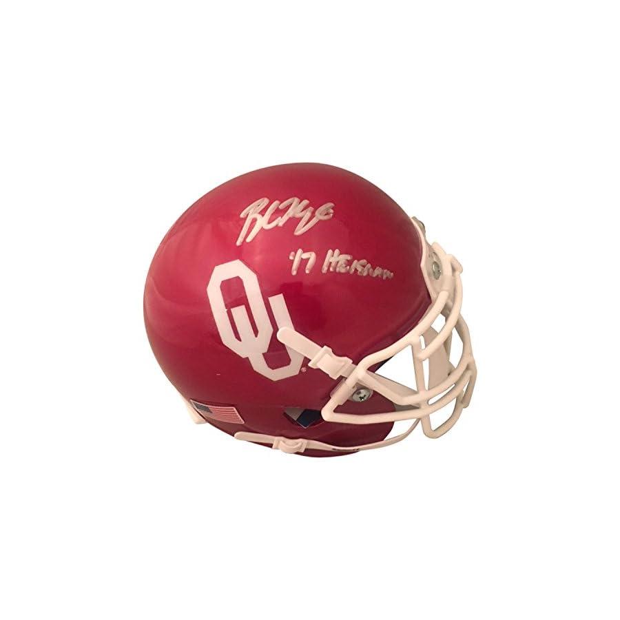 Baker Mayfield Autographed Oklahoma Sooners Signed Football Mini Helmet 2017 HEISMAN TROPHY Beckett COA