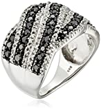 Sterling Silver with White and Black Diamond Fashion Ring (1 cttw, I-J Color, I2-I3 Clarity), Size 6