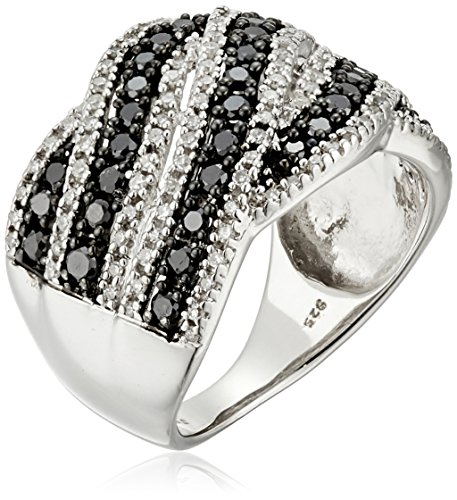 Sterling Silver with White and Black Diamond Fashion Ring (1 cttw, I-J Color, I2-I3 Clarity), Size 6 by Amazon Collection
