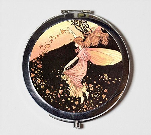 Fairy Leaves Compact Mirror Autumn Fall Fairytale Fairies Storybook Make Up Pocket Mirror for Cosmetics