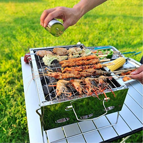 LHY DECORATION Portable Barbecue Grill Charbon de Bois Pliant Barbecue Grill en Acier Inoxydable Barbecue Grill Cuisine en Plein Air Camping Pique-Nique Outils avec Aiguille Rôtie