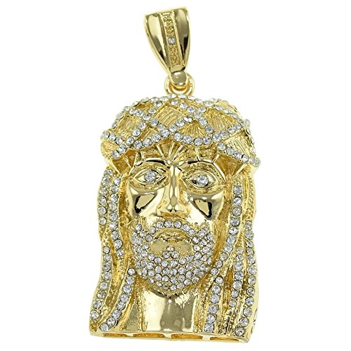 Jesus Piece Head Fully Iced-out Gold Finish Big Face Icy Bling Charm Chunky Hip Hop Pendant