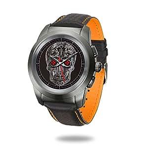 MyKronoz 7640158013045 ZeTime Petite Smartwatch, Brushed Titanium/Black Flat Leather