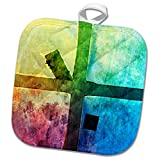 3dRose Alexis Photography - Abstracts - Colorful abstract of a grunge industrial window - 8x8 Potholder (phl_270480_1)