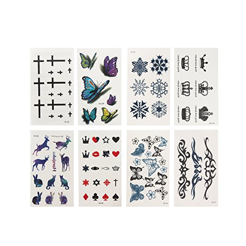 USATDD Fashion Body Art Stickers Removable Waterproof Small Temporary Tattoo 8 - Sunglasses How Shape Your For Face Pick To
