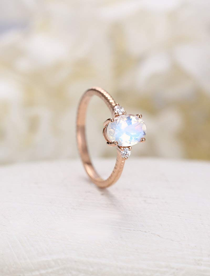 Amazon.com Moonstone Engagement Ring Rose Gold Vintage