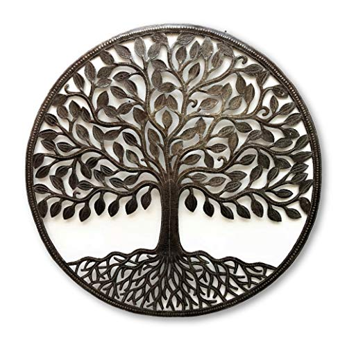 (it's cactus - metal art haiti Large Family Tree, Wall Plaque, Indoor or Outdoor, Decorative Home Artwork, Handmade from Recycled Steel Barrels, 33.5
