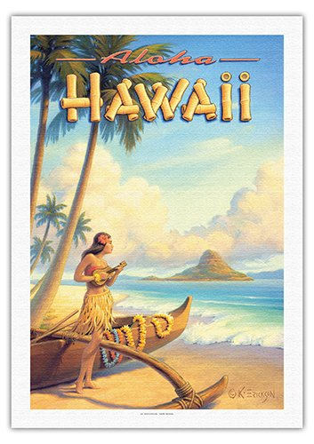 Aloha Hawaii - Hula Girl Playing Ukulele - Mokoli_i Island (Chinaman's Hat) - Vintage Style Hawaiian Travel Poster by Kerne Erickson - Fine Art Rolled Canvas Print - 27in x 40in