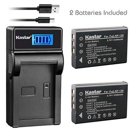 (Kastar Battery (X2) & Slim LCD Charger for Fujifilm NP-120 NP120 FNP120 D-LI7 DB-43 and Fujifilm Finepix 603 M603 F10 F11 Zoom Optio 450 550 555 750 750Z MX MX4 Camera)