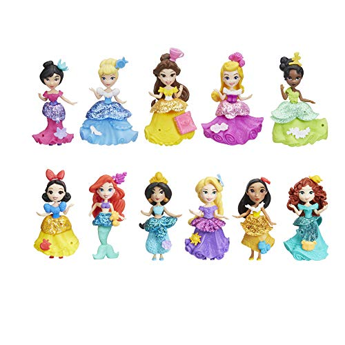Disney Princess Little Kingdom Doll Collection, 11 Small Dolls with Glitter Dresses and 22 Snap-ins Accessories, Toy for 4 Year Olds and Up -